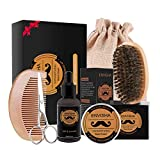 Kit de soins de la barbe pour hommes Croissance de la barbe et toilettage avec huile à barbe, baume à barbe/cire,...