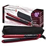 Remington S9600 Silk - Lisseur de cheveux, céramique, numérique, plaques flottantes extra longues, rouge,...