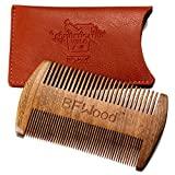 Peigne à moustache de poche BFWood - Bois de santal avec étui en cuir