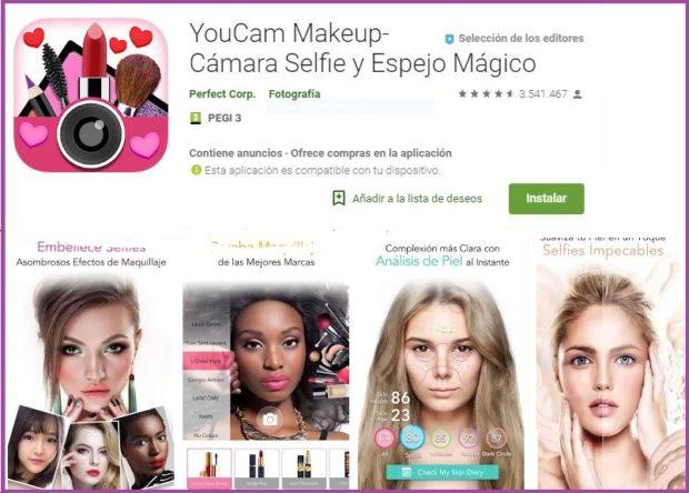 YouCam MakeUp Un salon de beauté sur votre mobile- 9 applications de maquillage qui ont la cote en 2019.