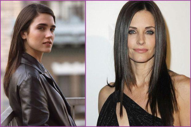 Jennifer Connely et Monica de Friends- Coiffures pour cheveux bruns