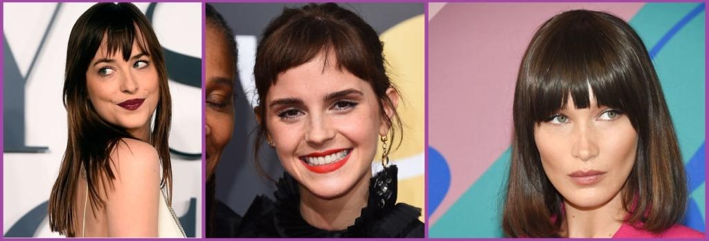 Dakota Johnson, Emma Watson ou Bella Hadid sauvées par une bonne frange- Tendances coiffure 2019.