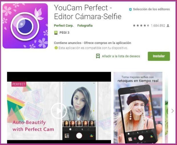 YouCam Perfect, obtenez votre selfie parfait- 9 applications de maquillage qui ont la cote en 2019.