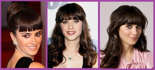 coiffure de célébrités à frange droite