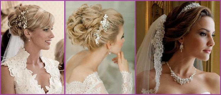 Semi updo coiffure arrière pour les mariées mariées