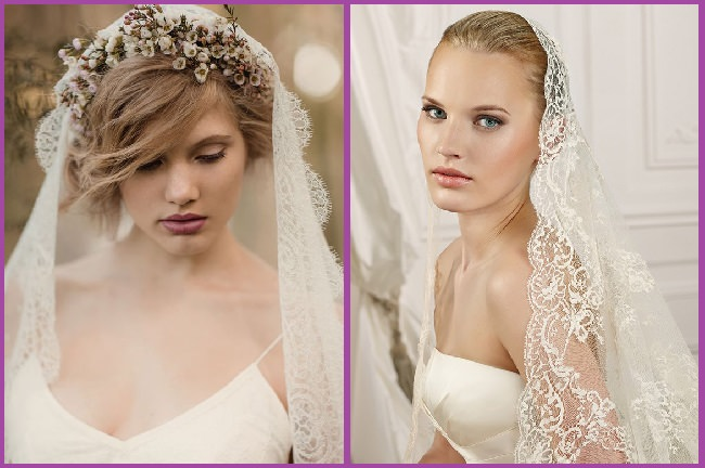 coiffure de mariée semi updo avec voilette