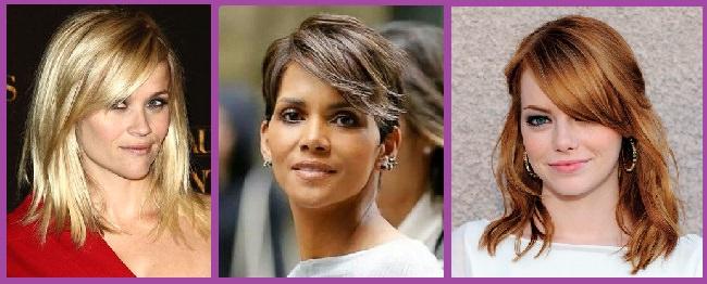 célébrités célèbres - coiffures à frange latérale