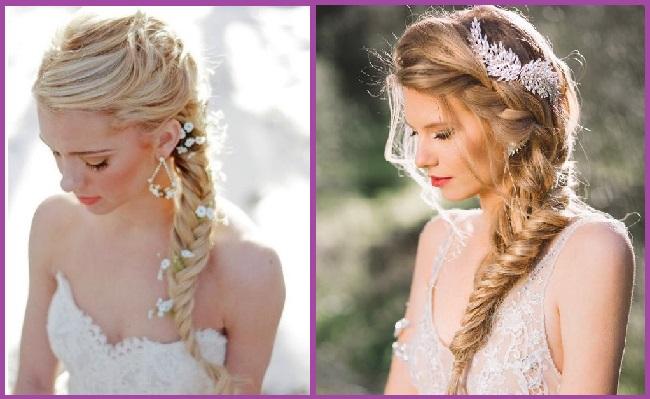 coiffures de mariée avec tresse en épi